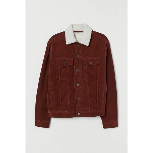 H&M Ocieplana kurtka sztruksowa 0688326019 Rdzawobrązowy