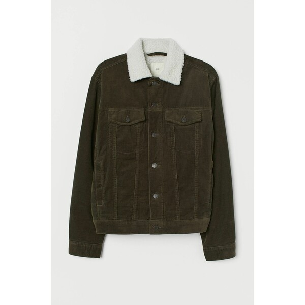 H&M Ocieplana kurtka sztruksowa 0688326019 Ciemna zieleń khaki