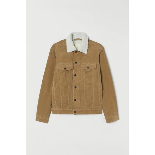 H&M Ocieplana kurtka sztruksowa 0688326019 Beżowy