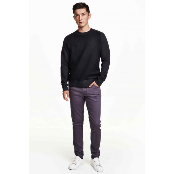 H&M Spodnie z diagonalu Skinny fit 0242334027 Fioletowy
