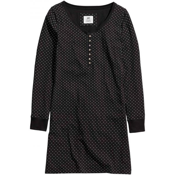 H&M Koszula nocna z dżerseju 0153852029 Czarny