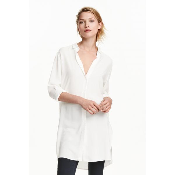 H&M Długa koszula 0401482007 Biały UbierzmySie.pl  8lO4w