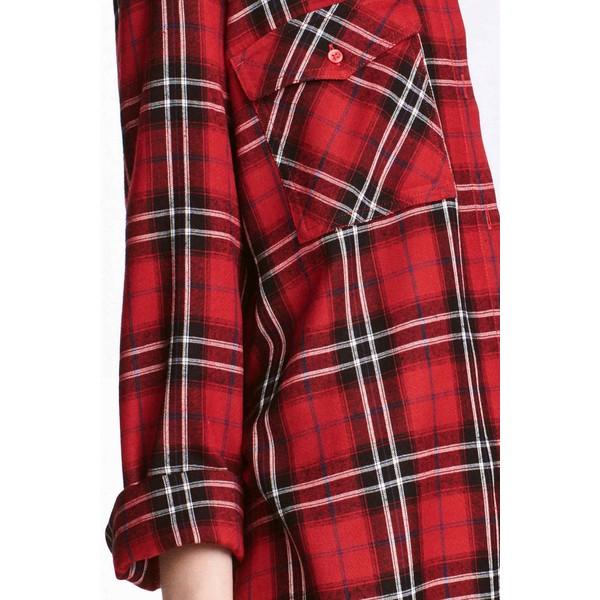 H&M Długa koszula 0398620023 CzerwonyKrata UbierzmySie.pl  xfosL