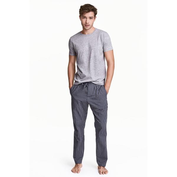 H&M Wzorzyste spodnie piżamowe 0453156004 Ciemnoniebieski/Szary