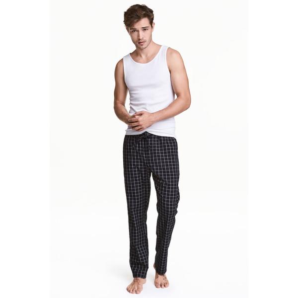 H&M Wzorzyste spodnie piżamowe 0453156004 Czarny/Biały/Krata