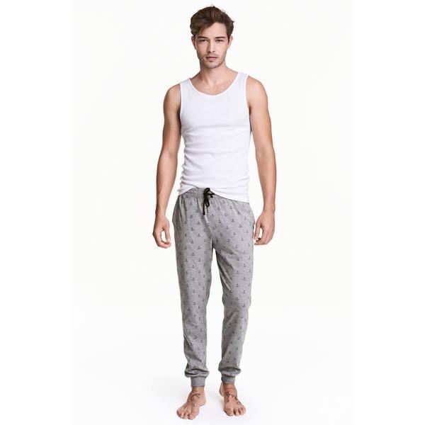 H&M Spodnie piżamowe we wzory 0473468001 Grey/Anchor