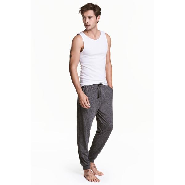 H&M Spodnie piżamowe z dżerseju 0454409001 Czarny melanż