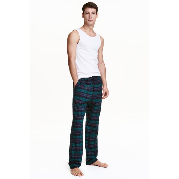 H&M Spodnie piżamowe z bawełny 0422587001 Ciemnozielony/Krata
