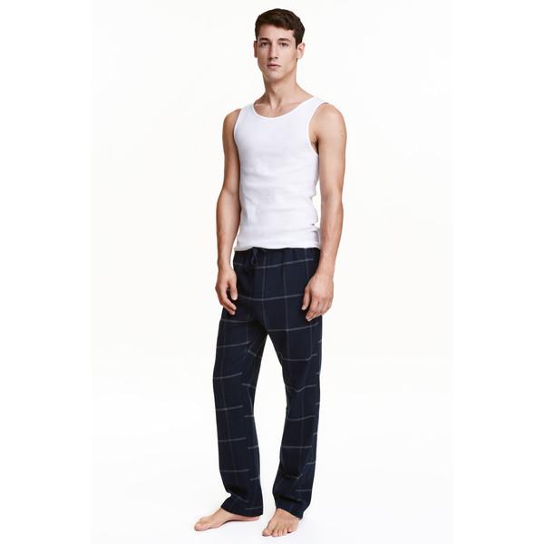 H&M Spodnie piżamowe z bawełny 0422587001 Ciemnoniebieski/Krata