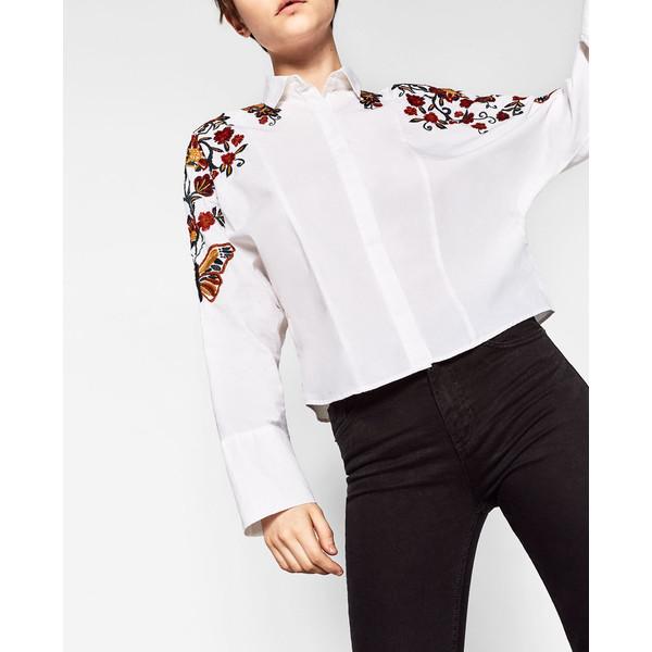 zara biała koszula z haftem