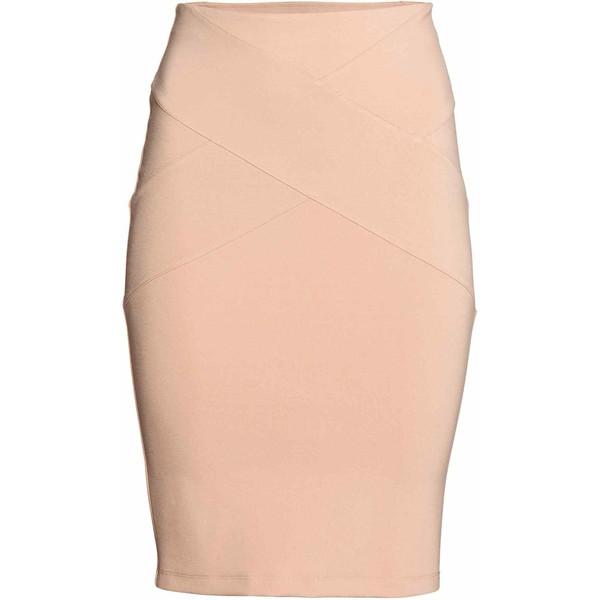 H&M Spódnica ołówkowa z dżerseju 0517331002 Pudrowobeżowy