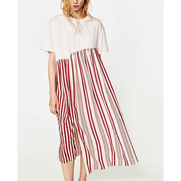 sukienka w paski zara biało czerwone