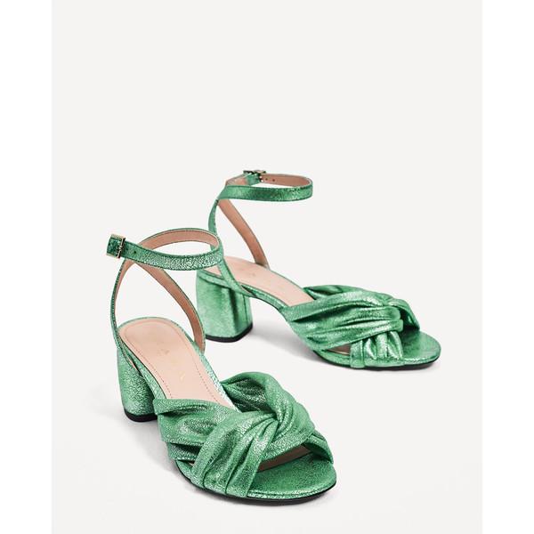 Sandały na średnim obcasie Zielony