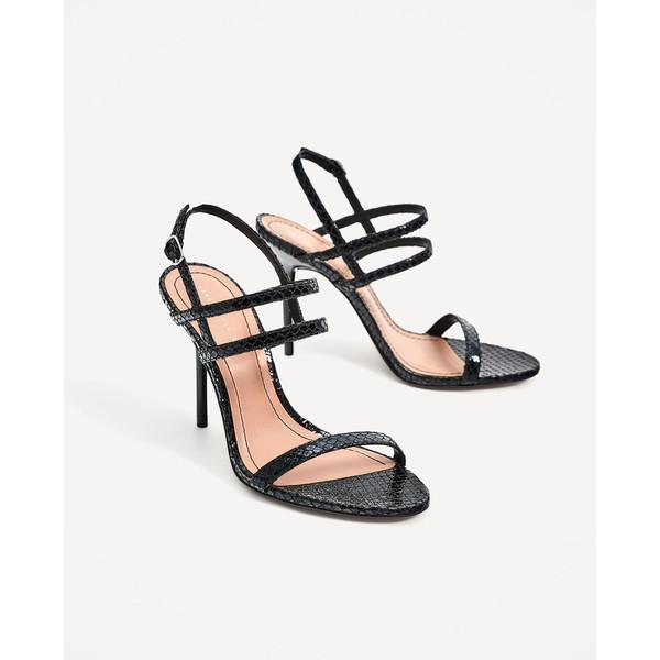 Beżowe sandały na obcasie z tłoczeniami VIBIERENE
