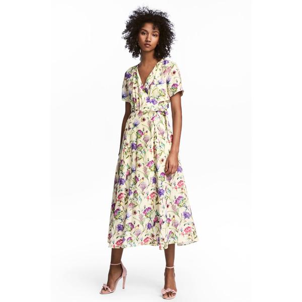 H&M Kopertowa sukienka we wzory 0538845002 JasnożółtyKwiaty