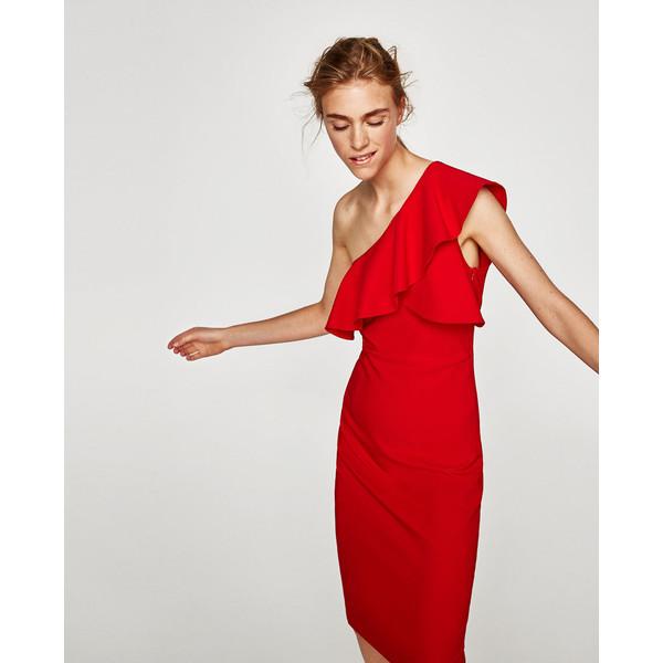 czerwona sukienka zara z falbanami