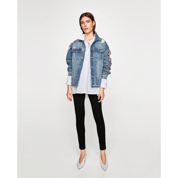 kurtka jeansowa ze sznurowaniem zara