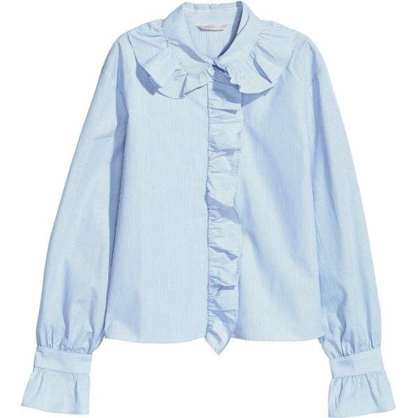H&M Koszula z falbankami 0570364001 BiałyNiebieskie paski  nJwCQ