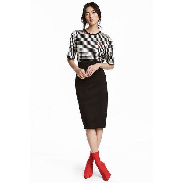 H&M Spódnica ołówkowa z dżerseju 0537109001 Czarny