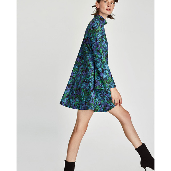 sukienka ze stójką w kwiaty zara