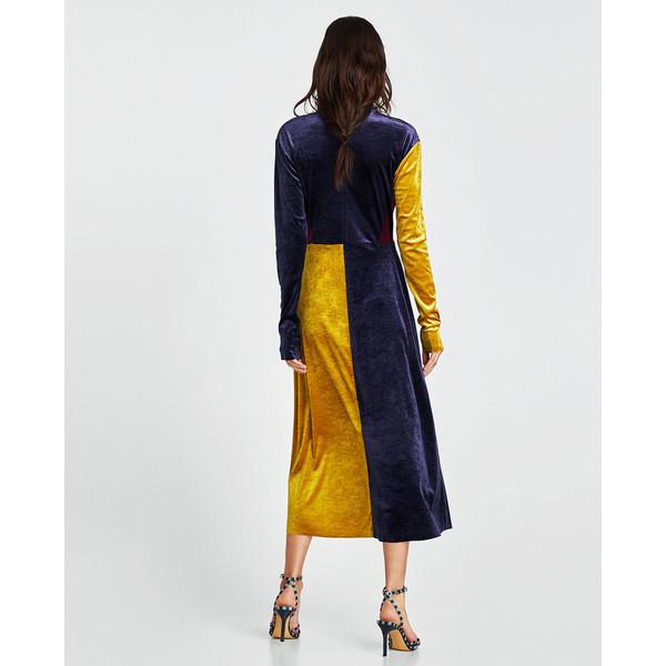 zara aksamitna sukienka z barwnymi wstawkami