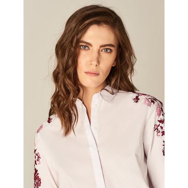 Mohito Bawełniana koszula z kwiatowym haftem SY888 00X  jFEeN