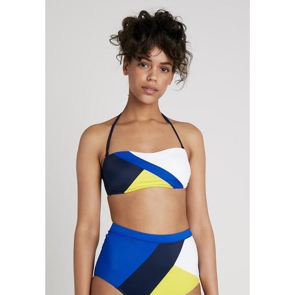 Tommy Hilfiger ARCHIVE BANDEAU Góra od bikini blue/yellow/white TO181J010